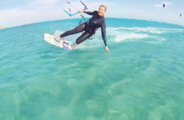 Me kitesurfing toeside in turquoise flatwater