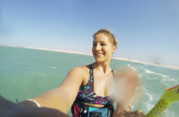 Close up of me kitesurfing in Brazil – the first stop of my kitesurf-around-the-world-trip