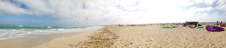 Panorama image of kite beach in Sal, Cape Verde