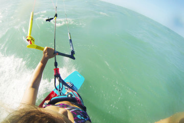 A shot of my kitesurfing in Brazil – the first stop of my kitesurf-around-the-world-trip