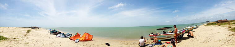 Panorama image of a lonely kitespot which is an island in Sri Lanka