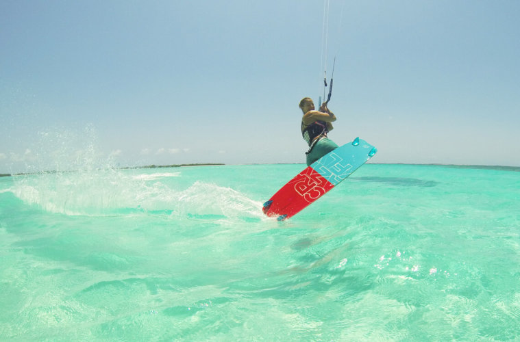 Me doing a Darkslide through crystal clear turquoise water