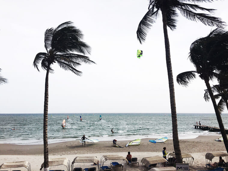 The spot in El Yaque – Windsurfers rule