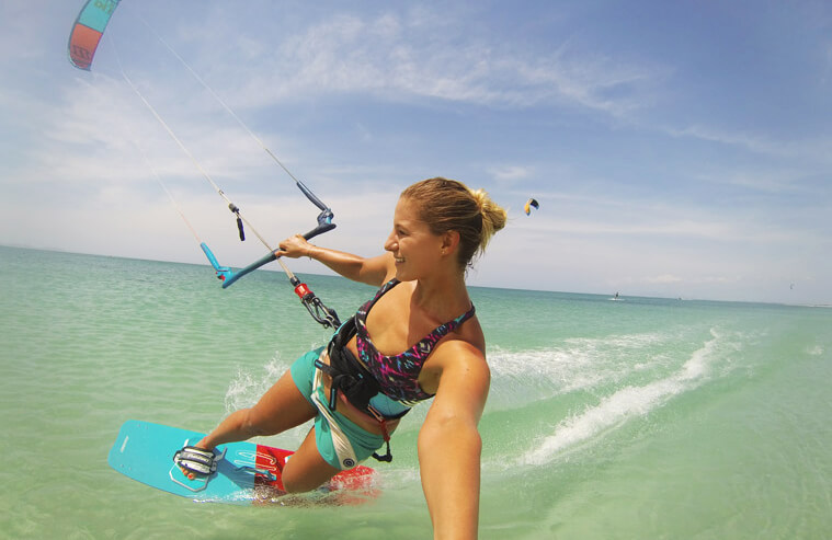 Selfie of me kiting on Isla de Coche in the flatwater