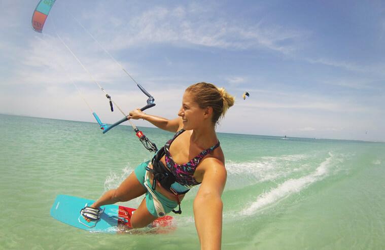 Selfie of me kiting on Isla de Coche in the flatwater