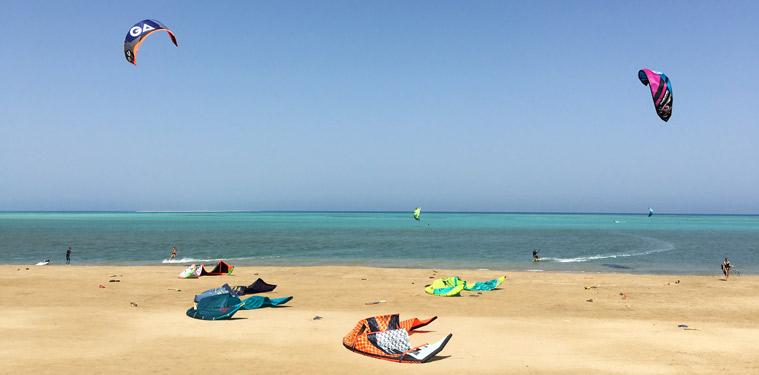 The kite beach in Hamata, Egypt