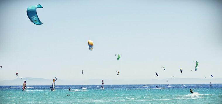 Kitesurfers on the water in Tarifa