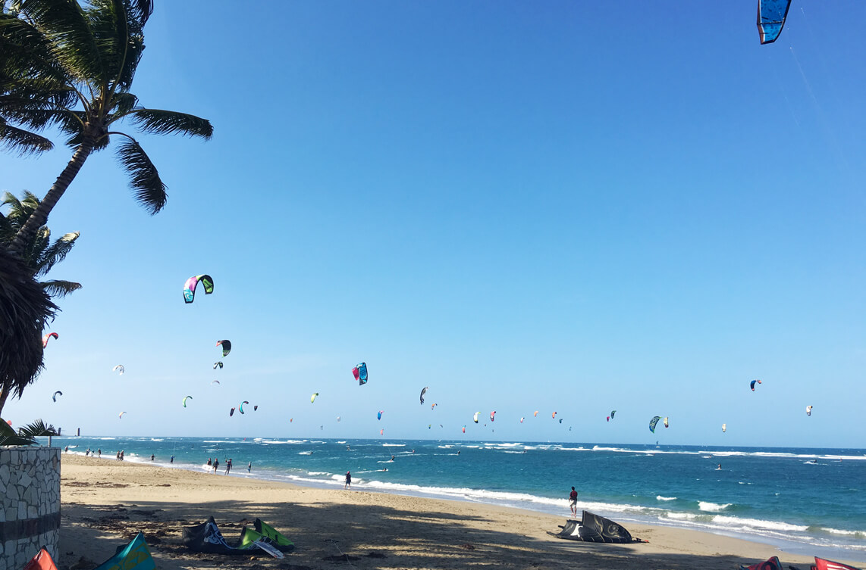 The kitesurf spot in Cabarete, Dominican Republic