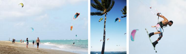 Kitesurfers ripping in Cabarete, Dominican Republic