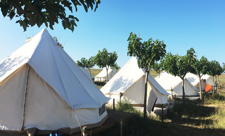 The tents in Surf Club Keros