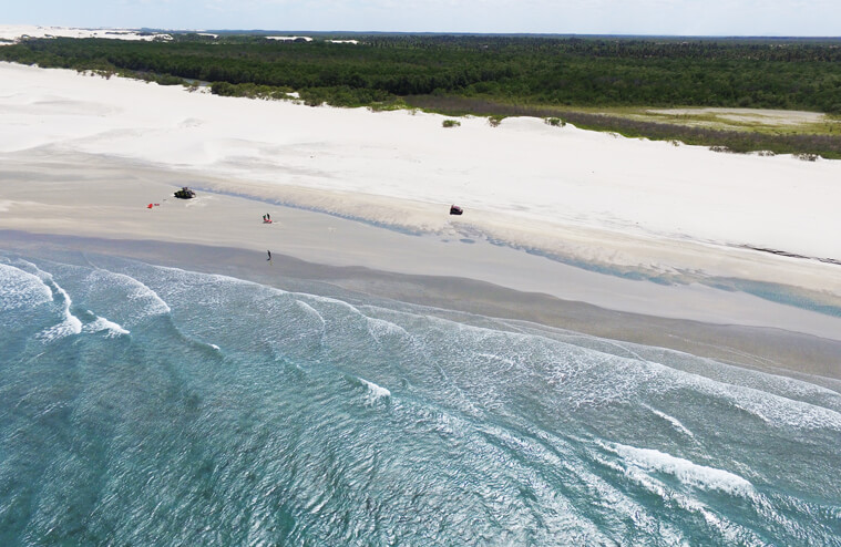 Drone view on the coast downwind from Jericoacoara