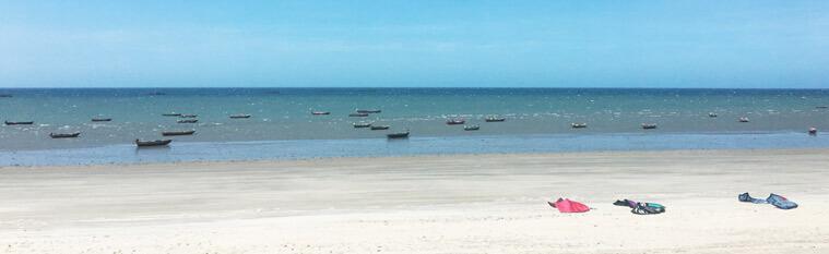 The kite beach in Barrinha, Brazil