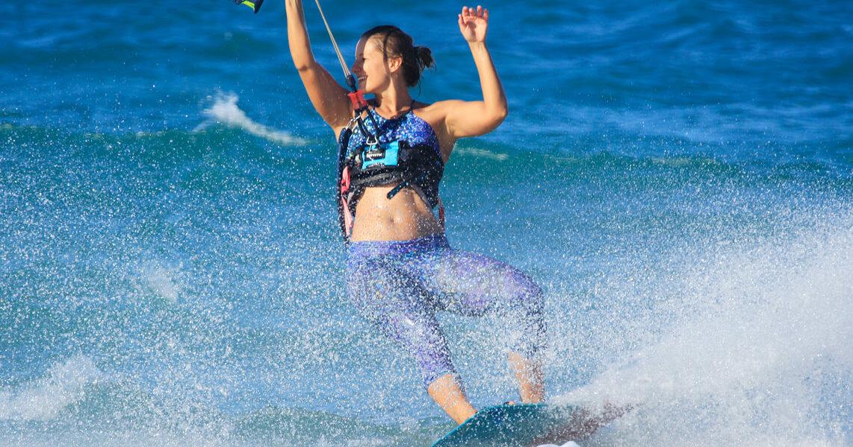 Having fun during the kitesurf session