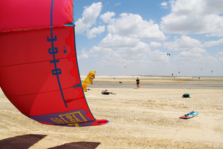 Launching the kite for an epic kiteboarding session