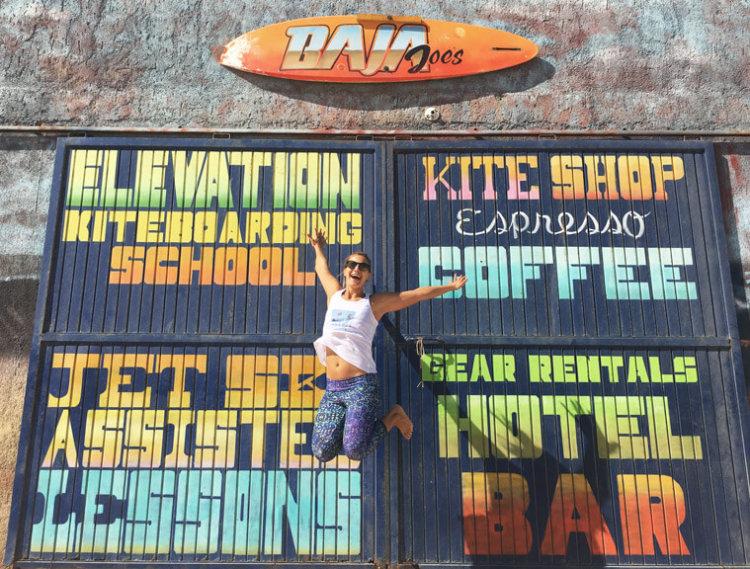 The colorful entrance to the kite school of Baja Joe's.