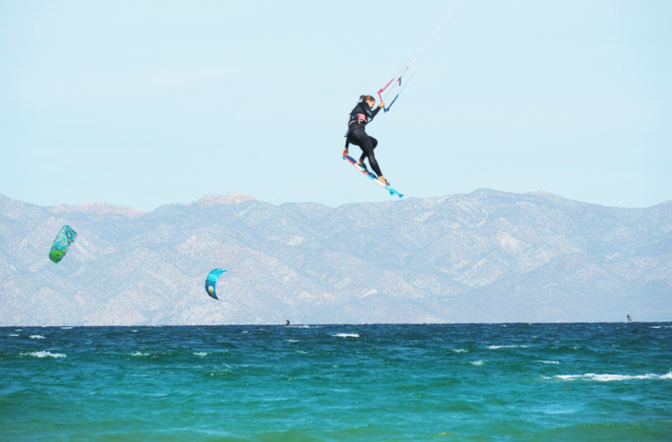 Kitesurfing or rather flying through the air in La Ventana, Mexico.