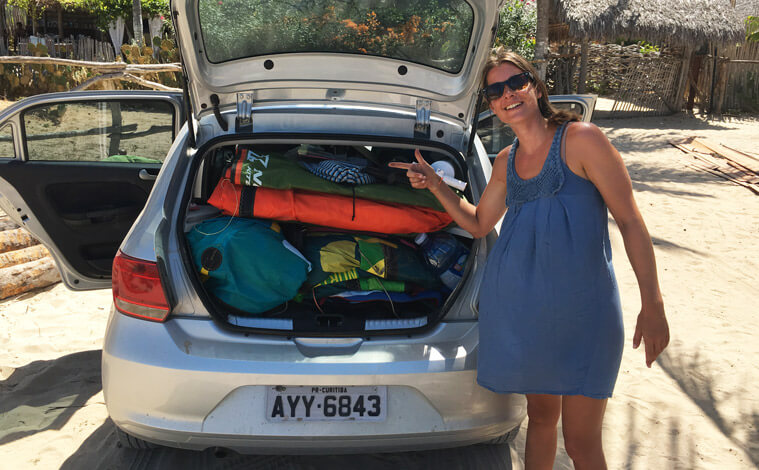 The prove that all kitesurf luggage fits even into the tiniest car