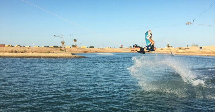 Wakeboarding as a no wind activity in El Gouna