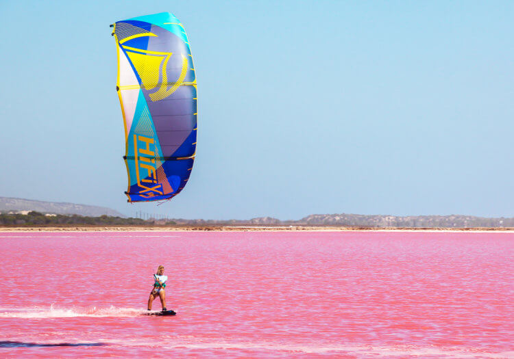 Isn't this the best kitesurf adventure?Kea Janssen shredding in the pink lagoon