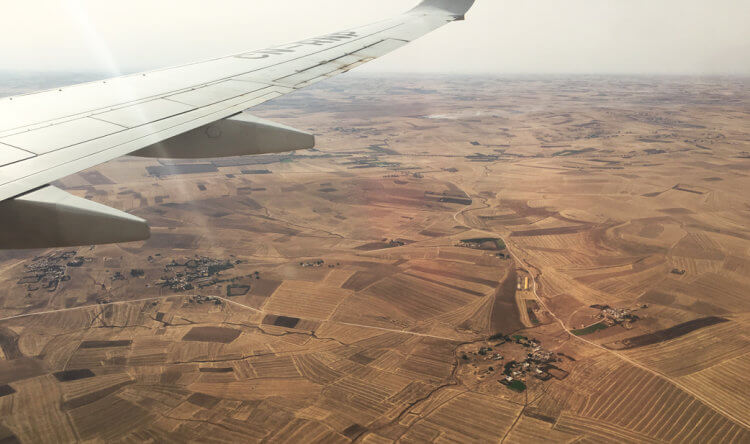 Airplane view of the Western Sahara when flying to Dakhla