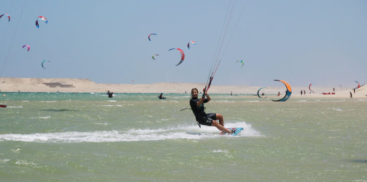 Freestyle progression in the flatwater lagoon of Dakhla