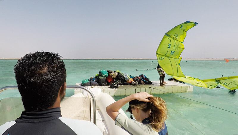 The platform in the middle of the Red Sea in Soma Bay to launch your kites from