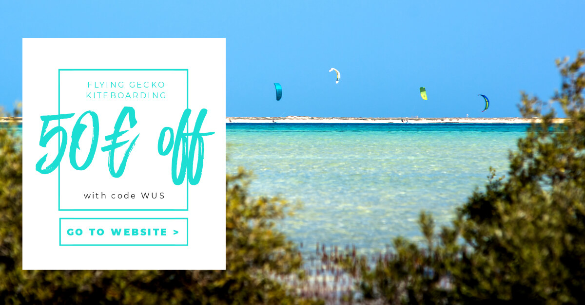 Discount Code for kitesurf travels and camps by Flying Gecko Kiteboarding