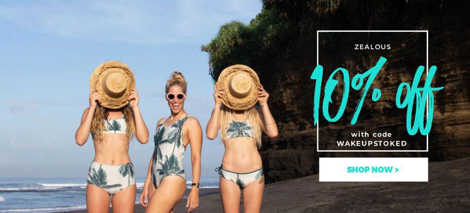 Discount Code for Zealous Surf Bikini, Surfwear and Streetwear