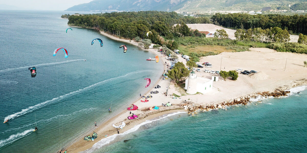 The kitesurf spot in Drepano, Greece, from above