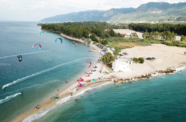 The kitesurf spot in Drepano, Greece, from above
