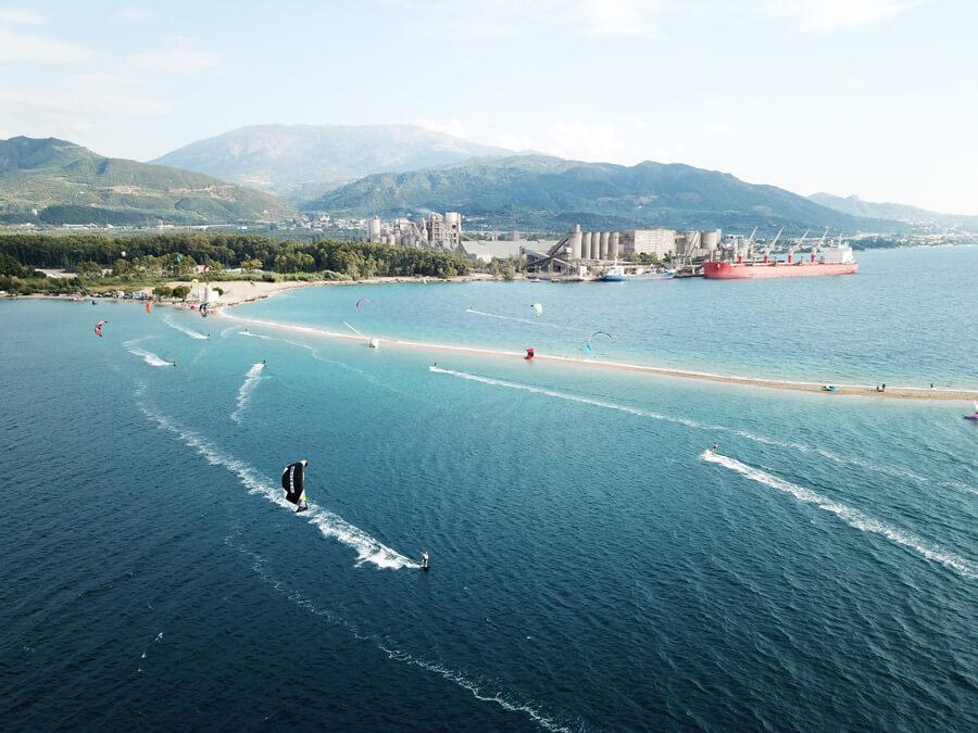 The kitesurf spot Drepano, Greece, on a weekend.