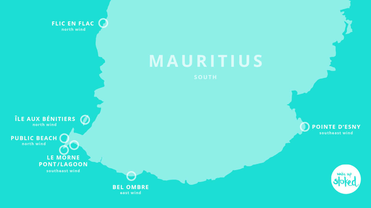 Map of the Kitesurf Spots on Mauritius – Point d' Esny, Bel Ombre, Le Morne etc