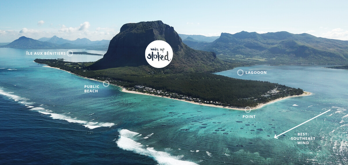 The kitesurf spots around Le Morne, Mauritius