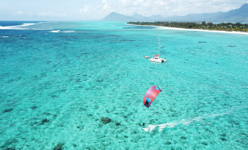 Kitesurfing with north wind from the public beach in Le Morne, Maurtius