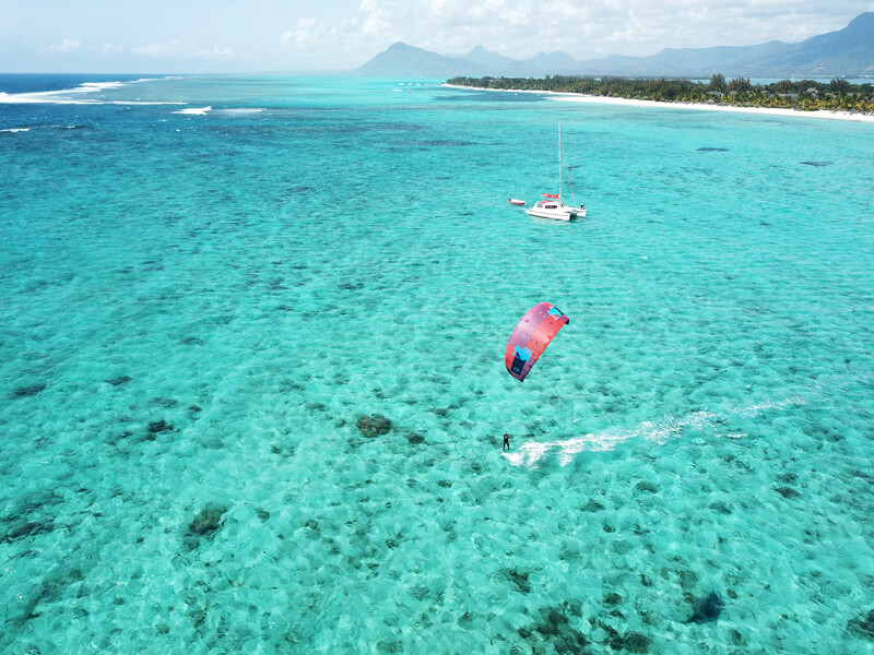 kitesurfing at the public beach in Le Morne, Mauritius
