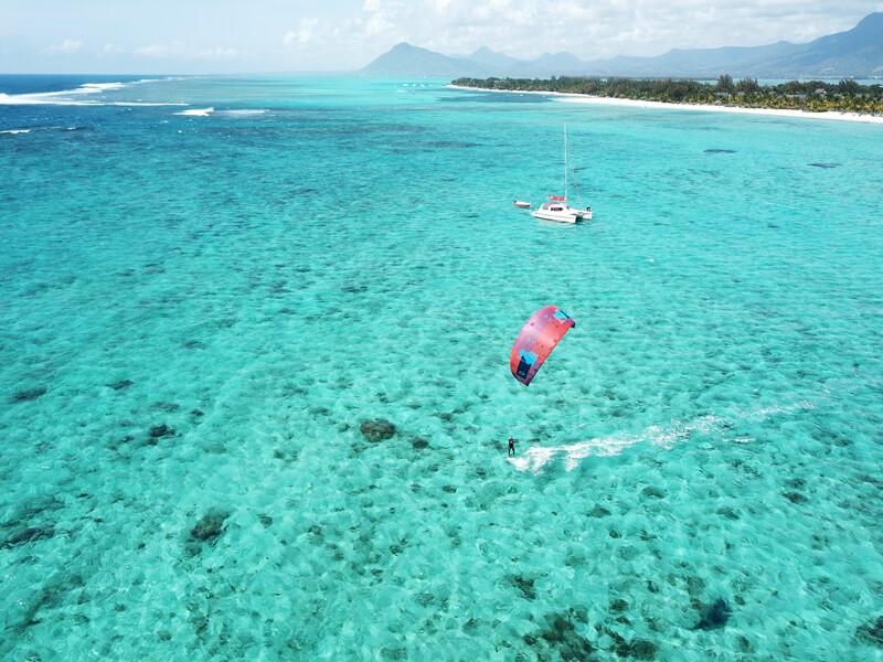 kitesurfing at the public beach in Le Morne, Mauritius