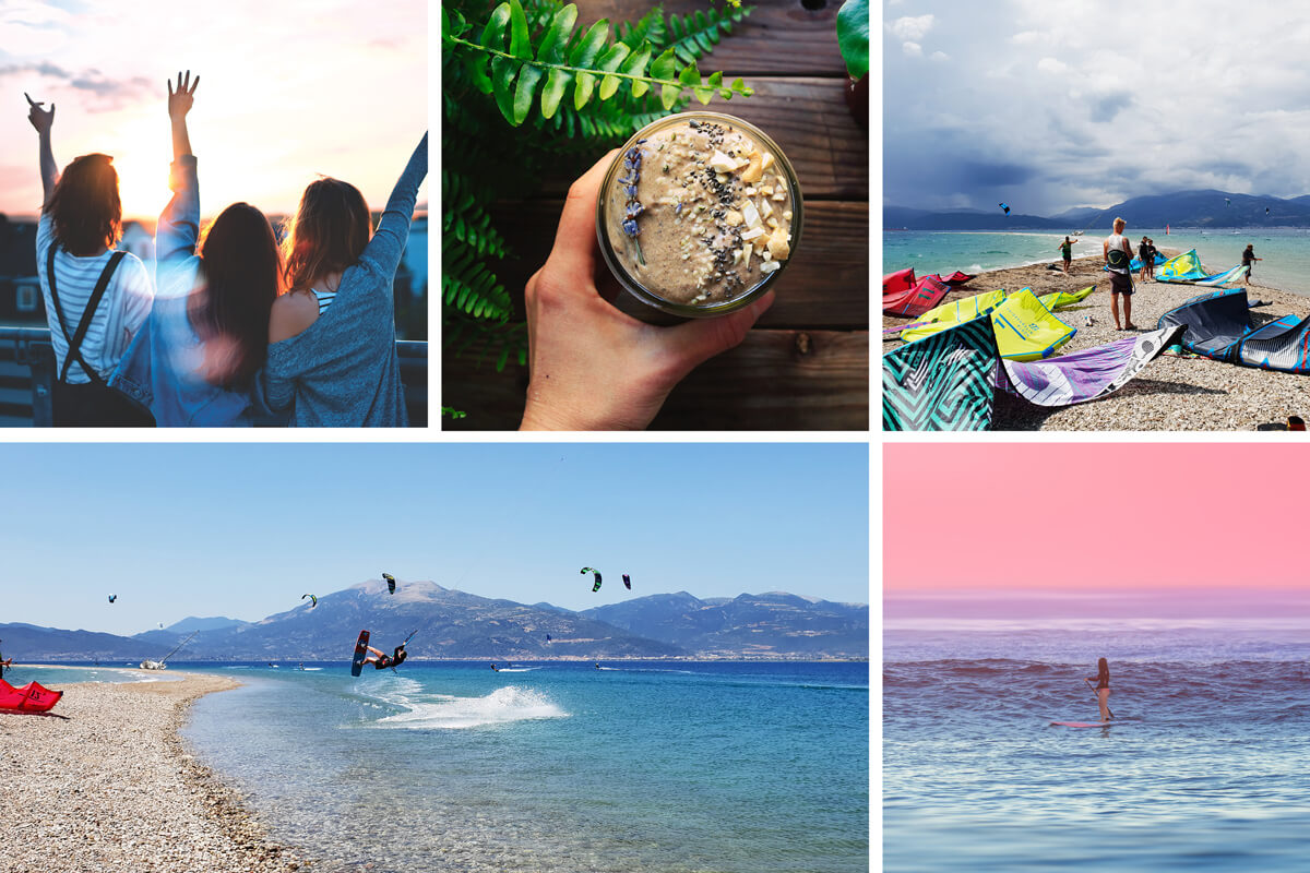 Kitecamp Drepano Greece with daily yoga and kite coaching