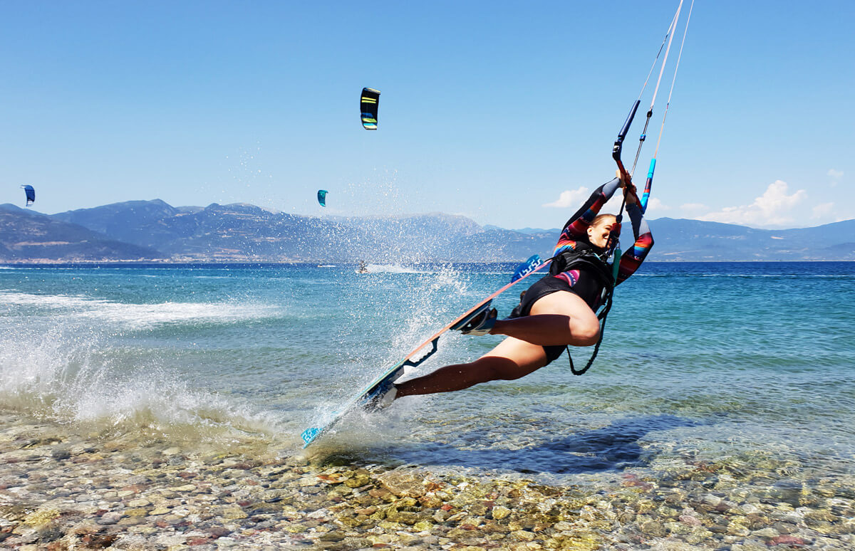 kitesurf yoga camp in drepano, Greece with flatwater and kite coaching