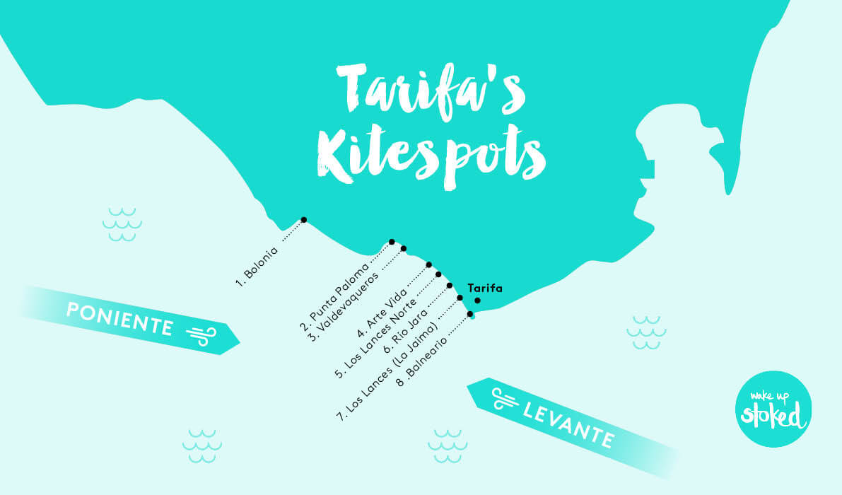 kitesurf spots in and around tarifa, spain including valdevaqueros, los lances and balneario