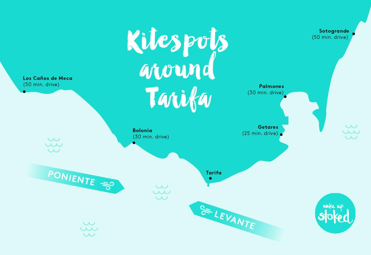 kitesurf spots close to tarifa bolonia, canos de cmeca, getares, palmones